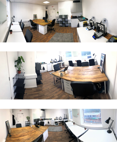 New creative co-working space within a 3D print office : Large desk space image3